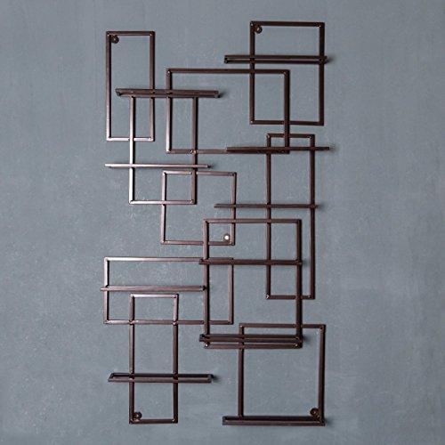 Wazy scaffale per vini retro stile industriale parete attrezzata per soggiorno in ferro battuto, parete attrezzata, mensola per bottiglie da parete, 23.2 * 3.5 * 42.5 pollici (colore : bronzo)