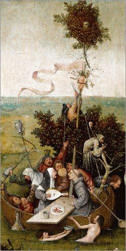 Poster 20 x 40 cm: Das Narrenschiff von Hieronymus Bosch - hochwertiger Kunstdruck, neues Kunstposter