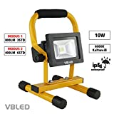 VBLED® 10W Profi LED Akku Baustrahler dimmbar inkl. KFZ Ladekabel 12/24V und Steckernetzteil 230V