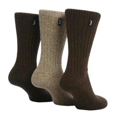 Jeep - 3 Paar Herren Wollsocken Wanderungen und Spaziergänge Socken, 39-45 eur im 2 Farben (Braun) -