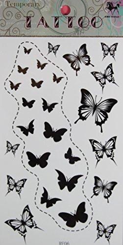GRASHINE toxiques papillons étanches et non noires de stckers de tatouage temporaire