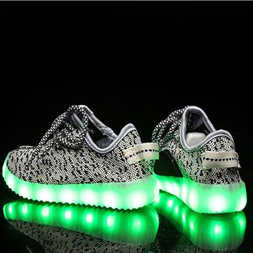 iBaste LED Sportschuhe für Herren Damen USB Aufladen 7 Lichtfarbe 11 Beleuchtenmodi Sport Schuhe Kinder Jungen Mädchen Laufschuhe Leuchtend Sneaker Turnschuhe Unisex Kinder-Weiß
