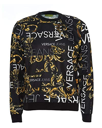 VERSACE JEANS COUTURE Men s Man Light Sweater Sports Hoodie, Black (Nero  899), 24f422b674