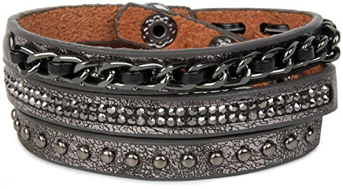 styleBREAKER Vintage Wickelarmband mit Nieten, Kette und Glitzersteine, Armband, Unisex 05040031, Farbe:Antik-Grau