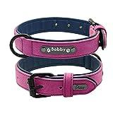 Kf Graviertes Leder weich verstellbares, gepolstertes Halsband, erstellen Sie Ihren eigenen Namen, einstellbar Hundehalsband 25-62cm (Farbe : Purple, größe : XXL)