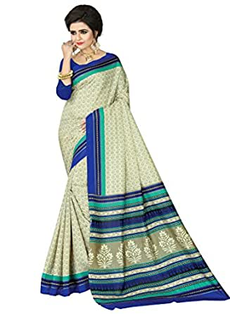 e-VASTRAM Womens Crepe Printed Art Silk Saree(V3112_Beige)