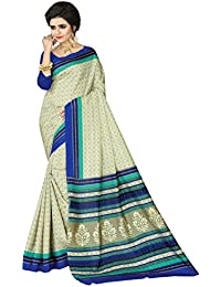 E-VASTRAM Womens Crepe Printed Art Silk Saree(V3112_Beige)