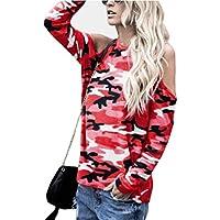 Blusa de Mujer Camuflaje Manga Larga Blusa con Hombros Descubiertos Top Camiseta ❤️ Manadlian