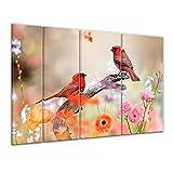 Keilrahmenbild - Rotkardinal - 180x120 cm 4 teilig - Bilder als Leinwanddruck - Wandbild von Bilderdepot24 - Tierwelten - Vogel - Natur - zwei Vögel auf einer Blumenwiese