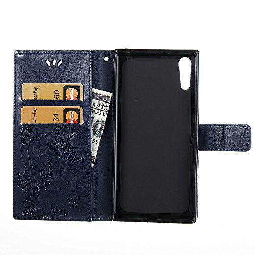 EKINHUI Case Cover Solid Color Faux Leder Bookstyle Brieftasche Stand Case mit geprägten Blumen & Lanyard & Card Slots für Sony Xperia XZ ( Color : Red ) Darkblue