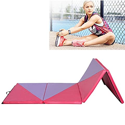 Lckyming 10FT Four Folding Gymnastics Mats Thick Exercise Fitness Physio (Pink & purple)