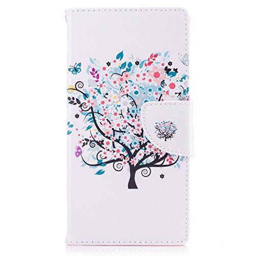 Sony Xperia XZ / XZs Hülle, Chreey Bunt Gemalt Magnetverschluss Flip Case Wallet Handyhülle PU Lederhülle Bookcase Brieftasche Kreditkarte Etui Schutzhülle [Blumen Baum]