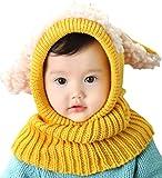 Yuson Girl Inverno del Bambino delle Ragazze dei Capretti dei Ragazzi di Lana Caldo Coif Hood Sciarpa ricopre i Cappelli (Giallo)