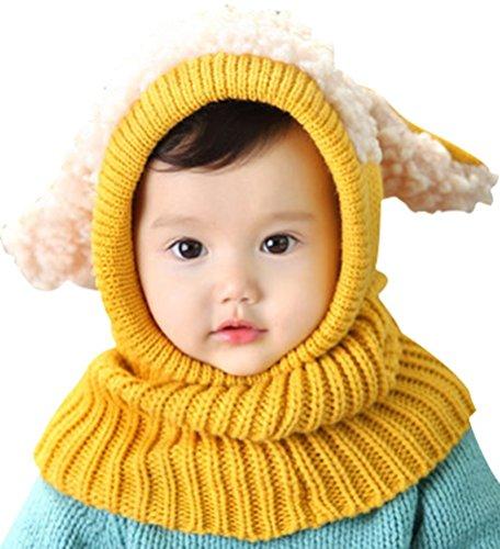 Invierno del bebé Niños Chicas Chicos Tejido Gorro Punto Caliente Lana Cofia Capucha Bufanda Caps Sombreros (Amarillo)