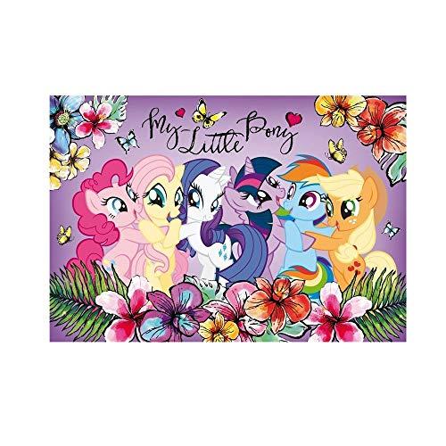 """WENDE - Schreibtischunterlage - """" little Pony / Regenbogen Freunde """" - 55 cm * 38 cm - beschichtete Pappe - Unterlage / Knetunterlage / Schreibunterlage / Tischunterlage - für Kinder Mädchen - Einhorn / Einhörner - Pferde"""