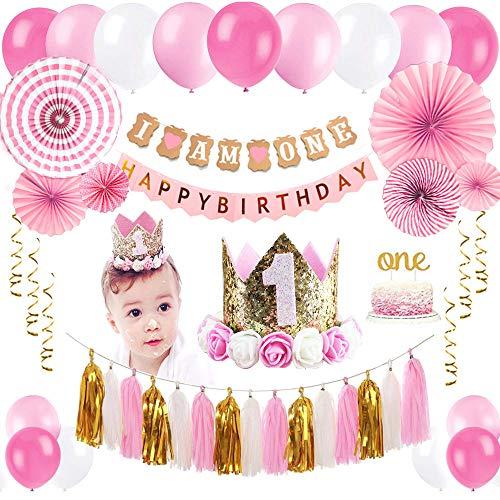 deko, 1. Geburtstag Party Dekorationen für Mädchen | Ammer Banner, Ballons, Hängende Papierfächer Blume Set, Cake Topper, Papierquasten und Baby Prinzessin Kranz Krone Hut (Pink01) ()