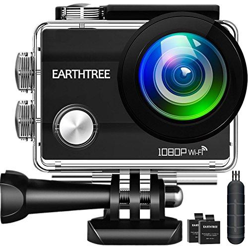 EARTHTREE Sport Action Kamera, 1080P Full HD WIFI Sports Cam 2.0 Zoll Bildschirm 170° Weitwinkel 30 MeterUnterwasser Kamera Helmkamera Wasserdicht mit 2 Akku und Kostenloses Zubehör
