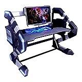 E-Blue Gaming-Schreibtisch/Computertisch mit LED-Beleuchtung, RGB EGT546BKAA-IA – Gaming 2 in 1 – Schreibtisch Gamer RGB LED + Barebone