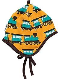 maxomorra Baby Jungen Mütze Train Orange mit Eisenbahn GOTS