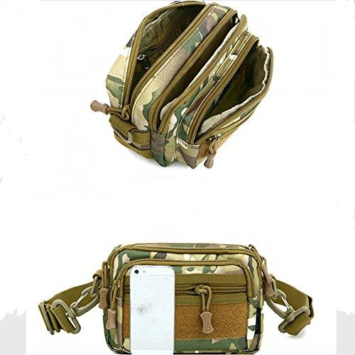Militare multifunzionale cintura borsa Pack Casual Messenger Bag borsa a tracolla tattico Molle Pouch, Black Black