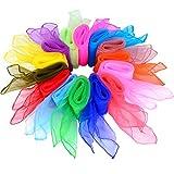 28 Piezas Pañuelo de Baile Malabarismo Bufanda Cuadrada Bufandas Mágicas, 14 Colores, 24 por 24...