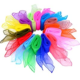 28 Pezzi Sciarpe Danza Seta Juggling Sciarpe Band Sciarpe, 14 Colori, 24 da 24 Pollici