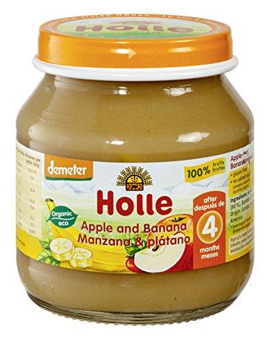 Holle Potito de Manzana y Plátano (+4 meses) - Paquete de 6 x 125 gr - Total: 750 gr