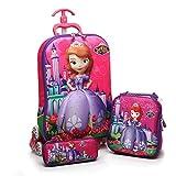 #6: Kuresh Sofia Hardshell Travel School Bag and EXPANDABLE zip Trolley Luggage Suitcase Bag, 6 Wheels School Bag For Kids