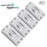 Favourall Sonoff Wifi Switch Singolo Canale Wireless Remote Control elettrico per elettrodomestici, compatibile con Alexa DIY Your Home tramite Iphone Android (4 pack)