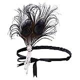 BABEYOND 1920s Stirnband Feder Flapper Stirnband mit Perlen Troddel 20er Jahre Haarband Große Gatsby Kostüm Accessoires Damen Retro Stirnband