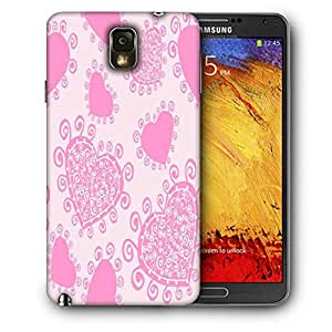 Snoogg Pink Heart White Pattern Printed Protective Phone Back Case Cover For Samsung Galaxy NOTE 3 / Note III