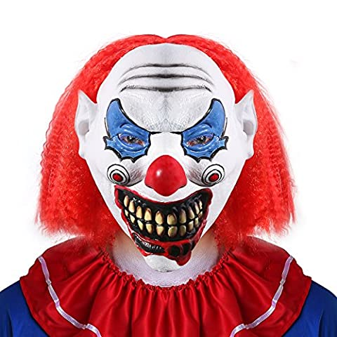 UNOMOR Halloween Scary Clown Mask with Hair for Adults Costume