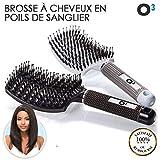 O³ Brosse Poil de Sanglier- 2 Brosses à Cheveux Démélantes en Poils de sanglier 100% Naturel