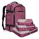 Veevan Sac à Dos Unisexe Voyage 40L Imperméable 17Pouces en Polyester (B-Violet Rouge et 3pc Rose)