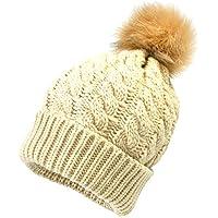 Malloom Sombreros para padres e hijos, sombrero de invierno para mamá y bebé, gorra de esquí para bebé, invierno para niños, lana gruesa de pelota de pelo, cálida, sombrero de cabeza blanda
