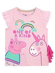 Idea Regalo - Peppa Pig - Maglietta a maniche corte per ragazze - Peppa Pig a Unicorno - 4-5 Anni