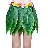 Disfraz de hula hawaiana para mujer con hojas de plátano y hierba