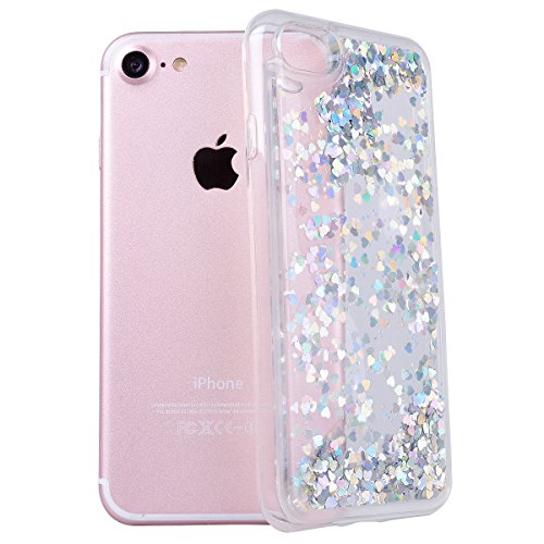 Yokata für iPhone 7 Hülle Silikon Weich TPU Transparent Treibsand Liquid Bling Glitter Handyhülle Schutzhülle Durchsichtig Clear Case Backcover Bumper - Love Blau + 1 x Kapazitive Feder Love Silber