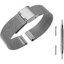 Pinhen - Correa de acero inoxidable para reloj Asus ZenWatch 3/Pebble y otros relojes con 14mm de ancho (liberación rápida, malla)