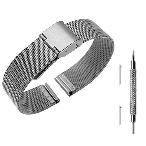 9e8d90f288b7 pinhen 14 mm liberación rápida de la pulsera malla acero inoxidable Metal  reloj banda correa pulsera