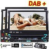 stereo per auto con lettore DVD/CD 1DIN pannello rimovibile schermo touchscreen da 7 pollici radio stereo con 8GB di spazio GPS telecamera di retromarcia autoradio Bluetooth Aux subwoofer RDS DAB+