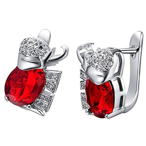 nykkola Fashion Bijoux en argent 925sterling Argenté Plaqué sutd Boucles d'oreilles Boucles d'oreilles carrée en cristal, cadeau pour femmes Lady Ado Fille rouge