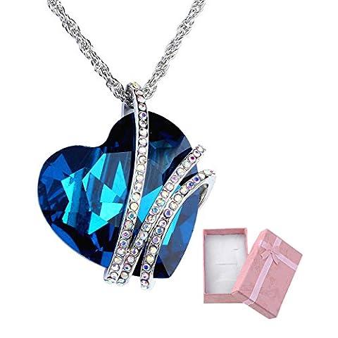 Jovivi Bijoux Pendentif Collier Reglable Forme Coeur Bleu Strass Cristal Amour Love Couple Amoureuse Cadeau pour