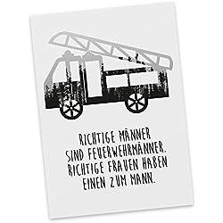 Mr. & Mrs. Panda Geschenkkarte, Sprüche, Postkarte Feuerwehr mit Spruch - Farbe Forrest Blackwhite