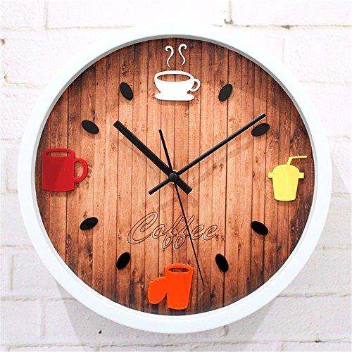 WERLM Persönlichkeit Design Home Decor Wall Clock Kunst Uhr Stereo Kaffeekanne Wanduhr...