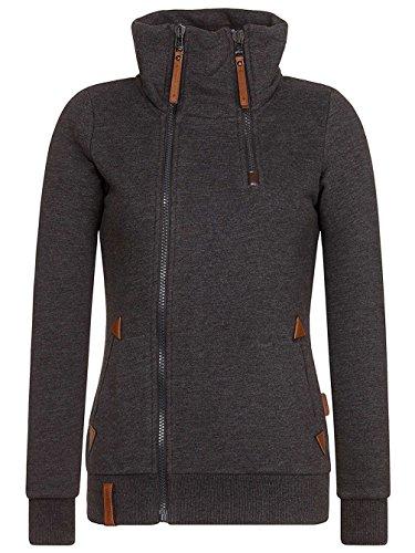 Naketano Female Zipped Jacket Hamza Bau ma anthracite melange