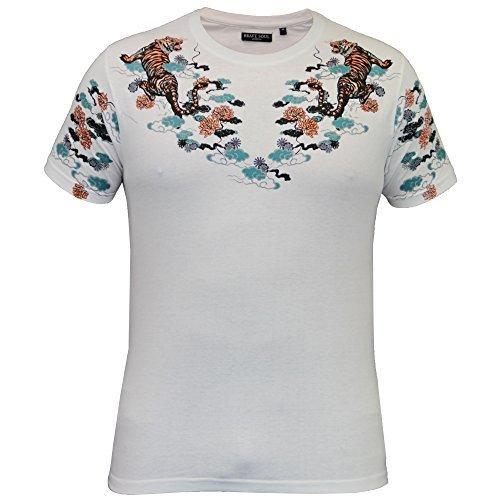Herren T-shirt Brave Soul Blumenmuster Art Tiger Aufdruck Kurzarm Rundhalsausschnitt Sommer weiß - 149gozen