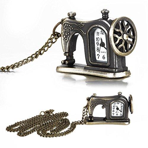 Hrph Retro antike Bronzelegierungs -Nähmaschine Design-Taschen-Uhr mit Halsketten -Ketten-bestes...