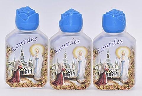 3Bouteilles d'eau Lourdes rempli avec de l'eau Lourdes & Blessed.