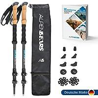 Alpen Bears Premium Wanderstöcke mit Echt-Kork Griff - Teleskop Wanderstock leicht für Herren & Damen I Trekkingstöcke verstellbar - Nordic-Walking-Stock